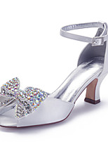 cheap -Women's Wedding Shoes Spring / Summer Cuban Heel Peep Toe Classic Vintage Wedding Party & Evening Rhinestone / Sparkling Glitter / Sequin Solid Colored Satin White / Ivory