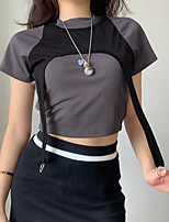 cheap -Women's T shirt Crop Top Tee / T-shirt Patchwork Navel High Neck Color Block Cute Sport Athleisure T Shirt Short Sleeves Breathable Soft Comfortable Yoga Exercise & Fitness Running Everyday Use