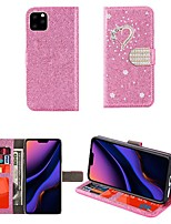 cheap -Case For iPhone 12 iPhone 11 Pro Max iPhone Xs Max Wallet / Card Holder / with Stand Full Body Cases Glitter Shine Heart PU Leather Case For iPhone 7 8 iPhone 7 Plus 8 Plus XR X XS iPhone SE(2020)  5S