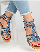 cheap -Women's Sandals Summer Flat Heel Round Toe Daily Snake Patent Leather Light Brown / Light Red / Blue / Roman Shoes / Gladiator Sandals