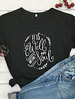 cheap -Women's T-shirt Graphic Prints Letter Tops - Print Round Neck 100% Cotton Basic Daily Summer All Seasons Wine White Black S M L XL 2XL 3XL
