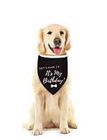 cheap -Dog Cat Bandanas & Hats Dog Bandana Dog Bibs Scarf Cartoon Letter & Number Casual / Sporty Cute Birthday Sports Dog Clothes Adjustable Black Costume Cotton Polyster