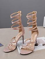 cheap -Women's Sandals Summer Stiletto Heel Round Toe Daily PU Nude