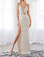 cheap -Sheath / Column Sexy Sparkle Engagement Formal Evening Dress V Neck Sleeveless Floor Length Sequined with Sash / Ribbon Split 2020