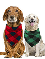 cheap -Dog Cat Bandanas & Hats Dog Bandana Dog Bibs Scarf Plaid / Check Party Cute Christmas Party Dog Clothes Adjustable Costume Cotton S L