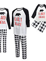 cheap -2 Piece Family Look Active Vintage Black & White Geometric Graphic Letter Print Long Sleeve Regular Maxi Clothing Set White