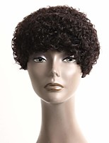cheap -Remy Human Hair Wig Short Afro Curly Kinky Pixie Cut Natural Color Odor Free Women Cool Capless Women's Natural Black 6 inch / For Black Women
