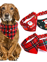cheap -Dog Cat Bandanas & Hats Dog Bandana Dog Bibs Scarf Plaid / Check Cartoon Party Cute Christmas Party Dog Clothes Adjustable Costume Cotton Polyster S M