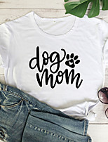 cheap -Women's T-shirt Graphic Prints Letter Tops - Print Round Neck 100% Cotton Basic Daily Summer All Seasons Wine White Black S M L XL 2XL 3XL