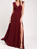 cheap -A-Line Beautiful Back Boho Party Wear Prom Dress V Neck Sleeveless Floor Length Chiffon with Ruffles Split 2020