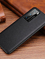 cheap -Case For Huawei HUAWEI P40  HUAWEI P40 PRO  HUAWEI P40 Pro Shockproof  Back Cover Solid Colored Genuine Leather  TPU