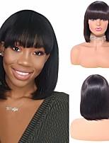 cheap -Remy Human Hair Wig Medium Length Natural Straight With Bangs Natural Black Women Natural New Arrival Capless Women's Natural Black 12 inch
