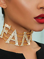 cheap -Women's White Cubic Zirconia Choker Necklace Necklace Pave Letter Statement European Zircon Alloy Gold Silver 21-50 cm Necklace Jewelry For Party Evening Gift Masquerade Prom Festival