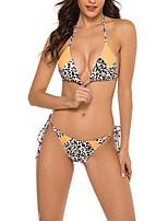 cheap -Women's Lace up Print Vintage Style Bikini Halter Neck Wireless Thong Swimwear Swimsuit Bathing Suits - Leopard Brown S M L