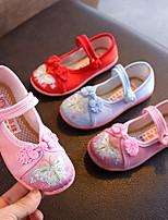 cheap -Girls' Flats Flower Girl Shoes Canvas Little Kids(4-7ys) / Big Kids(7years +) Red / Blue / Pink Summer / Fall / Rubber