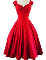 cheap -A-Line Elegant Vintage Cocktail Party Prom Dress Sweetheart Neckline Sleeveless Short / Mini Satin with Pleats 2020