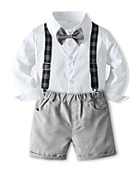 cheap -Toddler Boys' Basic Birthday Party Party & Evening Solid Colored Long Sleeve Regular Regular Clothing Set White