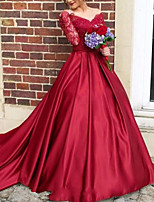 cheap -Ball Gown Cut Out Luxurious Quinceanera Formal Evening Dress V Neck Long Sleeve Court Train Satin with Pleats 2020