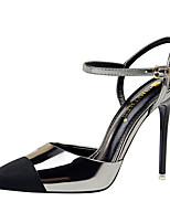 cheap -Women's Sandals Summer Stiletto Heel Pointed Toe Daily PU Black / Silver / Black / Champagne