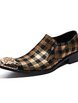 cheap -Men's Dress Shoes Summer Daily Party & Evening Loafers & Slip-Ons Cowhide Handmade Yellow