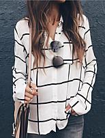 cheap -Women's Shirt Check Shirt Collar Tops Fall White