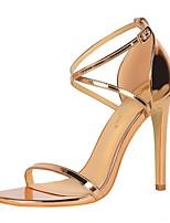 cheap -Women's Sandals Summer Stiletto Heel Open Toe Daily PU Black / Silver / Black / Champagne