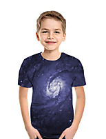 cheap -Kids Boys' Active Basic Galaxy 3D Short Sleeve Tee Blue