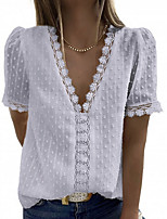 cheap -Women's T-shirt Solid Colored V Neck Tops Summer White Black Dusty Blue