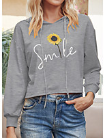 cheap -Women's Hoodie Floral Letter Casual Hoodies Sweatshirts  Yellow Blushing Pink Gray