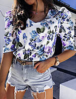 cheap -Women's T-shirt Graphic V Neck Tops Summer Blue Blushing Pink