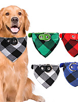cheap -Dog Cat Bandanas & Hats Dog Bandana Dog Bibs Scarf Plaid / Check Party Cute Christmas Party Dog Clothes Adjustable Costume Fabric M L XL