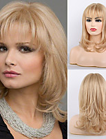 cheap -Remy Human Hair Wig Very Long Curly Body Wave Layered Haircut Neat Bang With Bangs Blonde Black Women Natural Hairline African American Wig Capless Women's All Natural Black #1B Medium Auburn#30