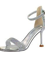 cheap -Women's Sandals Summer Stiletto Heel Round Toe Daily PU Black / Champagne / Gold
