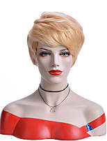 cheap -Synthetic Wig Natural Straight Asymmetrical Wig Short Light golden Synthetic Hair 6 inch Women's Party Blonde