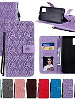 cheap -Case For Samsung Galaxy S20 Ultra Note 10 Plus S10E A51 A71 A20E Card Holder with Stand Flip Full Body Cases Solid Colored Flower PU Leather Galaxy A10 A20 A30 A40 A50 A70 A70S A80 A90 A81 A91 A2 Core