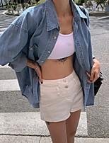 cheap -Women's Blouse Shirt Solid Colored Long Sleeve Shirt Collar Tops Basic Top Blue