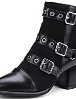 cheap -Women's Boots Cuban Heel Round Toe Casual Basic Daily Rivet Solid Colored PU Mid-Calf Boots Walking Shoes Black / Gray