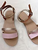 cheap -Women's Sandals Summer Flat Heel Open Toe Daily PU Black / Pink