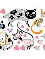 cheap -New Cat and Bird Heart PVC Wall Stickers Children Bedroom Create Cartoon Animal Stickers