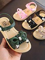 cheap -Girls' Sandals Comfort PU Little Kids(4-7ys) / Big Kids(7years +) Black / Pink / Green Summer / Fall / Rubber