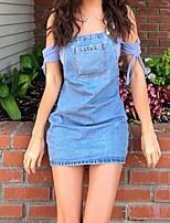 cheap -Women's Denim Dress Short Mini Dress - Sleeveless Solid Color Summer Off Shoulder Casual 2020 Blue S M L