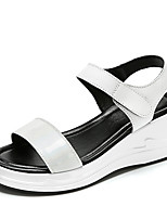 cheap -Women's Sandals Summer Wedge Heel Open Toe Daily Outdoor Leather White / Black / Silver