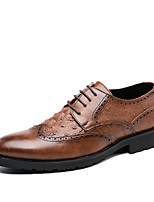 cheap -Men's Spring / Fall Casual / British Daily Party & Evening Oxfords Walking Shoes Faux Leather Non-slipping Wear Proof Light Brown / Black
