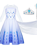 cheap -Frozen Dress Cosplay Costume Girls' Movie Cosplay Halloween Blue Dress Wand Halloween New Year Polyester / Cotton