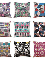 cheap -9 pcs Linen Pillow Cover Creative Geometry Abstract Linen Pillow Case Car Pillow Cushion Sofa Pillow Pillow Office Nap Pillow