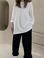 cheap -Women's Blouse Solid Colored Round Neck Tops Loose White Black Khaki