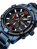 cheap -NIBOSI Men's Sport Watch Quartz Sporty Casual Water Resistant / Waterproof Stainless Steel Black / Blue Analog - Digital - Black Blue / Calendar / date / day / Chronograph / Noctilucent