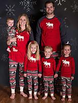 cheap -2 Piece Family Look Active Vintage Deer Geometric Color Block Animal Print Long Sleeve Regular Clothing Set Red