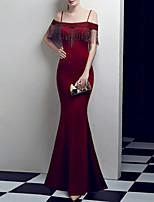 cheap -Mermaid / Trumpet Elegant Luxurious Engagement Formal Evening Dress Off Shoulder Sleeveless Floor Length Spandex with Tassel 2020