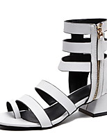 cheap -Women's Sandals Roman Shoes / Gladiator Sandals Summer Cuban Heel Open Toe Daily PU White / Black / Orange
